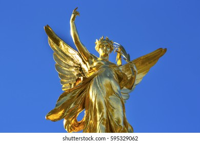 Winged Victory Victoria Memorial Buckingham Palace Westminster London England.  Victoria Memorial by Thomas Brock created 1911.