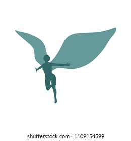 Winged woman silhouette. Abstract flying female angel