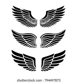 Wings for heraldry, tattoos, logos.