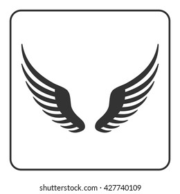 Wings icon. Design graphic element. Template for logo or other uses. Abstract sign. Symbol of bird, flight, freedom. Black silhouette, isolated on white background. Flat style. illustration.