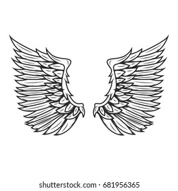 Wings isolated on white background. Design elements for logo, label, emblem, sign, badge
