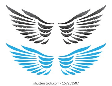 Wings on white background