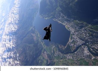 wingsuit flyer over Voss Norway