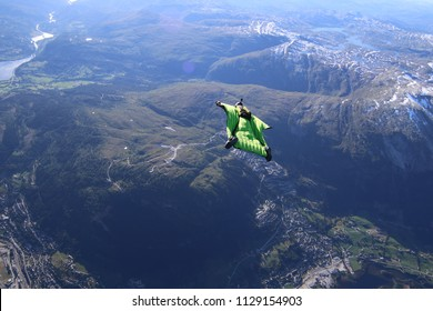 wingsuit flying over Voss, Norway