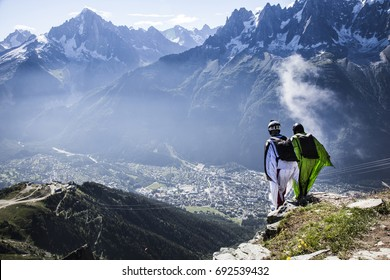 Wingsuit jump in the French mountains, Alps Chamonix