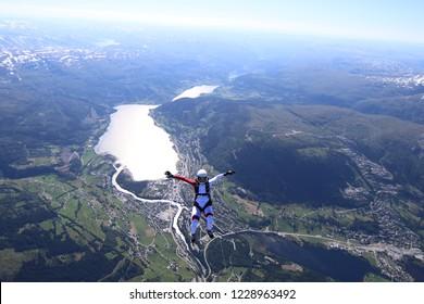 Wingsuit skydiving over Norway