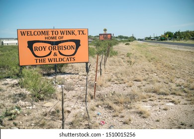 Wink, Texas - September 18 2019: Welcome to Wink sign, home of Roy Orbison