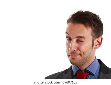 Winking businessman portrait