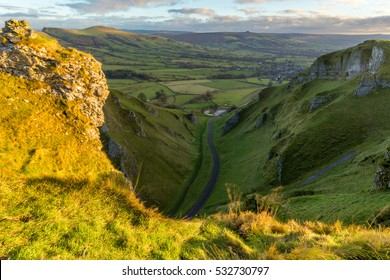 Winnats Pass in the Peak District National Park on a sunny December morning.