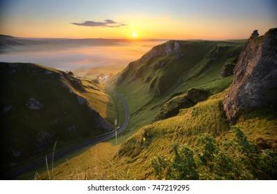 Winnats Pass at sunrise, Peak District