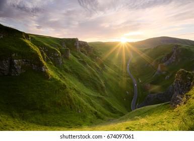 Winnats Pass at sunset, Peak District
