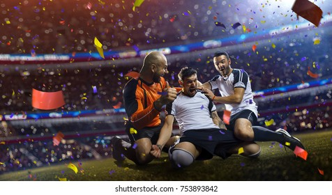 winnder soccer players confetti