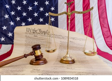 Winneconne - 11 May 2018: Bill of rights with an American flag, judges gavel and a balance scale dealing with justice for American rights