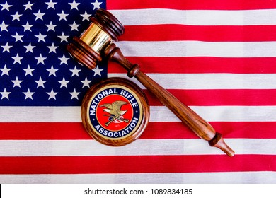 Winneconne - 11 May 2018: A NRA sticker with a judges gavel on an American flag