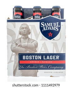 Winneconne - 12 June 2018: A Six pack of Samuel Adams Boston lager beer on an isolated background.