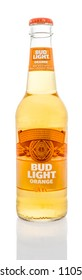 Winneconne - 4 June 2018: A single beer of Budlight orange light lager brewed with real orange peels beer on an isolated background.