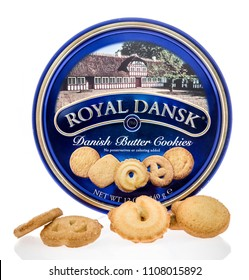 Winneconne - 7 June 2018: A tin of Royal Dansk Danish butter cookies on an isolated background.