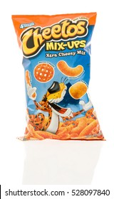 Winneconne, WI - 1 December 2016:  Package of Cheetos mix-ups xtra cheezy mix chips on an isolated background.