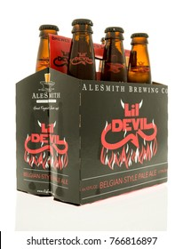 Winneconne, WI - 1 December 2017:  A six pack of Lil Devil beer by Alesmith brewing on an  isolated background.