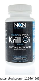 Winneconne, WI - 1 July 2018: A bottle of New Cell Nutrition premium antarctic krill oil on an isolated background.