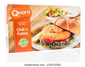 Winneconne, WI - 1 July 2018: A box of Quorn meatless chik'n patties on an isolated background.