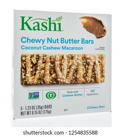 Winneconne, WI - 10 December 2018: A package of Kashi chewy nut butter bars granola bar on an isolated background.