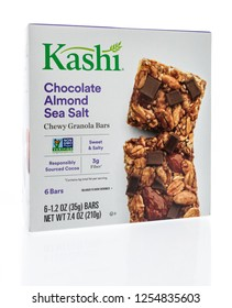 Winneconne, WI - 10 December 2018: A package of Kashi chocolate almond sea salt chewy granola bar on an isolated background.