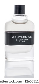 Winneconne, WI - 10 December 2018:  A bottle of Gentelman givenchy paris cologne on an isolated background.