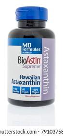 Winneconne, WI - 10 January 2018: A bottle of MD Formulas Bioastin supreme Hawaiian Astaxanthin on an isolated background.