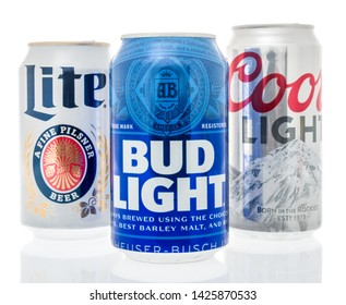 Winneconne, WI - 10 June 2019 : A collection of American top light beers including Coors light, Bud light and Miller lite on an isolated background