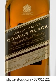 Winneconne, WI - 10 March 2016: A close up shot of Johnnie Walker double black whisky