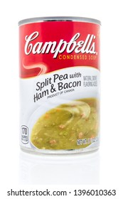 Winneconne, WI - 10 May 2019 : A can of Campbells Split pea with ham and bacon soup on an isolated background