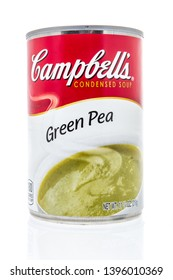 Winneconne, WI - 10 May 2019 : A can of Campbells green pea soup on an isolated background