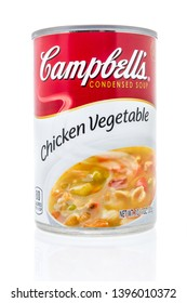 Winneconne, WI - 10 May 2019 : A can of Campbells chicken vegetatable soup on an isolated background