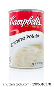 Winneconne, WI - 10 May 2019 : A can of Campbells cream of potato soup on an isolated background