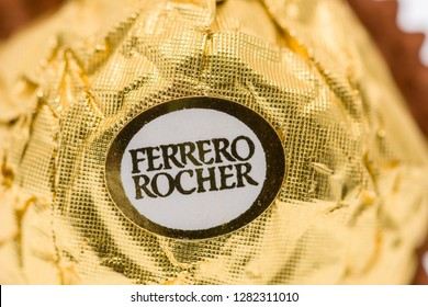 Winneconne, WI - 11 January 2019:  A close up image of Ferrero Rocher chocolate candy on an isolated background.