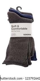 Winneconne, WI - 11 November 2018: A package of Soft and comfortable roll-top socks by Sonoma on an isolated background.