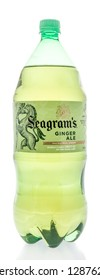 Winneconne, WI - 12 January 2019:  A two liter bottle of Seagrams ginger ale on an isolated background.