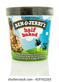 Winneconne, WI - 12 May 2016: Container of Ben & Jerry's ice cream in half baked flavor on an isolated background