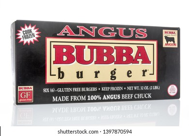 Winneconne, WI - 12 May 2019 : A package of Angus bubba frozen burgers on an isolated background