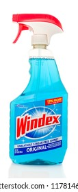 Winneconne, WI - 12 September 2018: A bottle of Windex unbeatable streak-free shine window cleaner on an isolated background