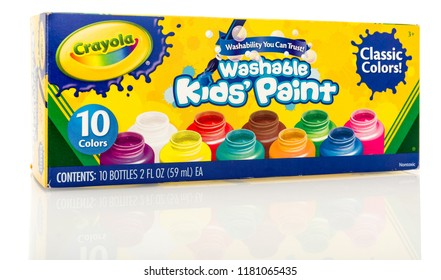 Winneconne, WI - 12 September 2018: A box of Crayola washable kids' paint on an isolated background
