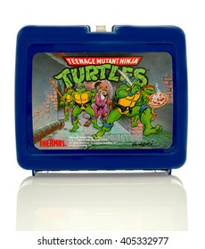 Winneconne, WI - 13 April 2016:   Lunch box featuring Teenage mutant ninja turtles on an isolated background.