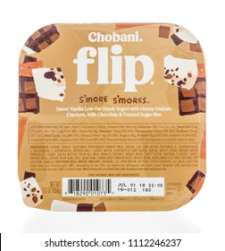 Winneconne, WI -  13 June 2018: A package of Chobani flip s'more s'mores yogurt on an isolated background.
