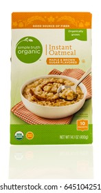 Winneconne, WI - 13 May 2017: A box of Simple truth organic instant oatmeal on an isolated background.