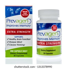 Winneconne, WI - 14 February 2019: A bottle of Preagen improves memory dietary supplement on an isolated background