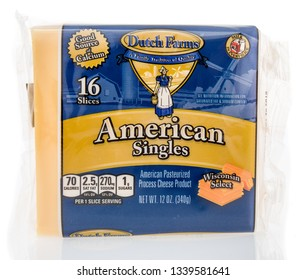 Winneconne, WI - 14 March 2019: A package of Dutch Farms American singles cheese from Wisconsin on an isolated background