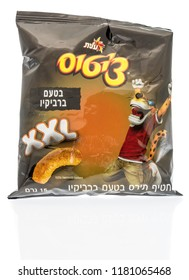 Winneconne, WI - 14 September 2018: A package of Cheetos XXL cheese and BBQ flavor from Israel in Hebrew on an isolated background