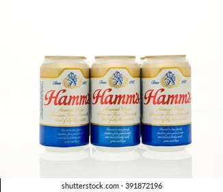 Winneconne, WI - 15 March 2016:  A six pack of Ham's beer in cans.