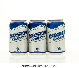 Winneconne, WI - 15 March 2016:  A six pack of Busch light beer in cans.